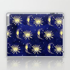 Cosmos sun moon and stars pattern blue watercolor  Laptop & iPad Skin