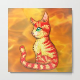 Fiery cat Metal Print
