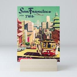 retro iconic San Francisco poster Mini Art Print