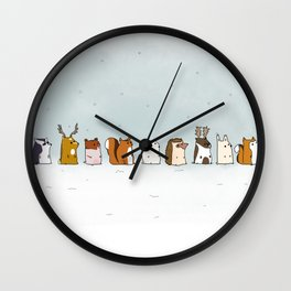 Winter forest animals Wall Clock