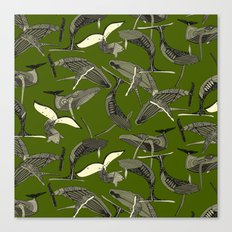 just whales green Canvas Print