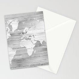 Design 119 Grayscale World Map Stationery Cards
