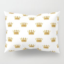 Wedding White Gold Crowns Pillow Sham