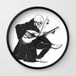 Minstrel playing guitar,grim reaper musician cartoon,gothic skull,medieval skeleton,death poet illus Wall Clock