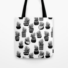 houseplant linocut aloe vera art botanical black and white lino printmaking art minimal modern Tote Bag