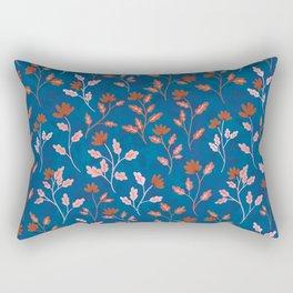 Vintage Floral | Blue and Orange Rectangular Pillow