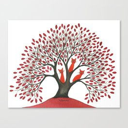 Red Oak Whimsical Cats in Tree Canvas Print