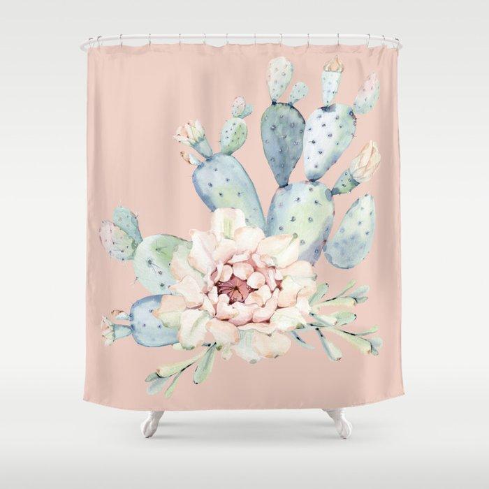 Sweet Pink Rose Desert Cactus Shower Curtain