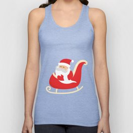 Merry Christmas Santa Claus Flying in his Sleigh Unisex Tank Top