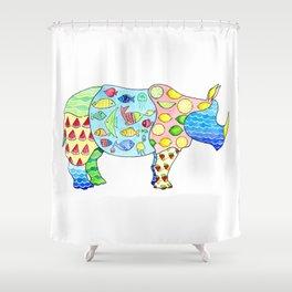 Rhino on Vacation Shower Curtain
