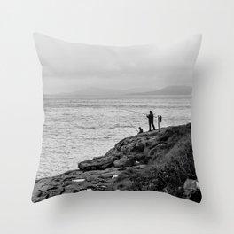 Fishing the Irish Coast Throw Pillow