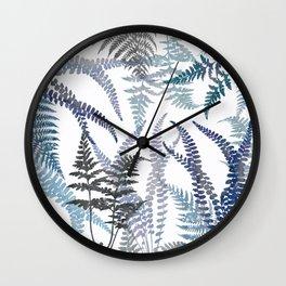 Lush Forest Ferns in Blue Wall Clock