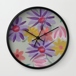 Rain Flowers Wall Clock