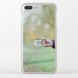 Spill the Coffee (Color) Clear iPhone Case