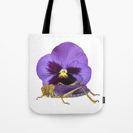 Purple Grasshopper and Viola Tote Bag