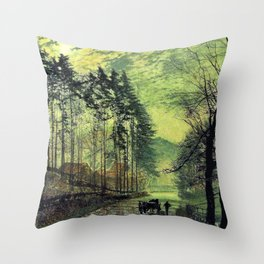 John Atkinson Grimshawn -Near Hackness, A Moonlit Scene With Pine Trees - Digital Remastered Edition Throw Pillow