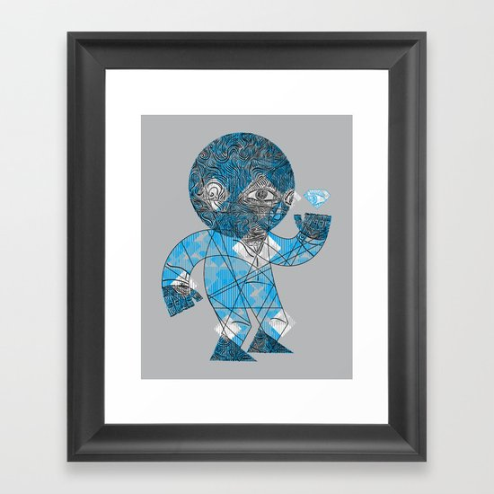 mesmerized by the light blue diamond Framed Art Print