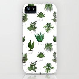 Houseplants Illustration (white background) iPhone Case