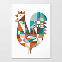mid century Canvas Prints featuring mid-century rooster by dennisthebadger