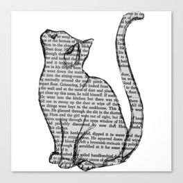 Cat reading itself cute book sticker Canvas Print