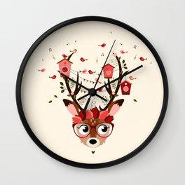 Biche et cabanes à oiseaux (rose) Wall Clock