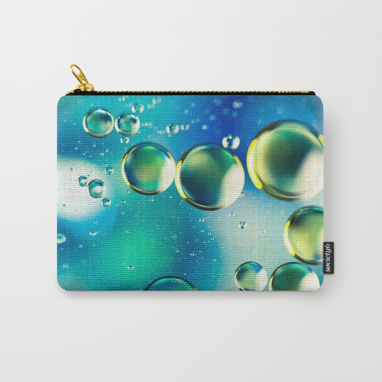 Macro Water Droplets  Aquamarine Soft Green Citron Lemon Yellow and Blue jewel tones Carry-All Pouch