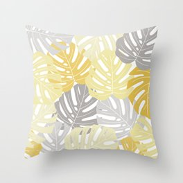 Yellow monstera deliciosa leaves Throw Pillow