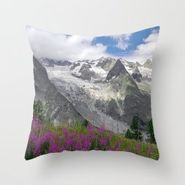 Flowering Meadows Snowy Mountains Summer Alpine Landscape Throw Pillow