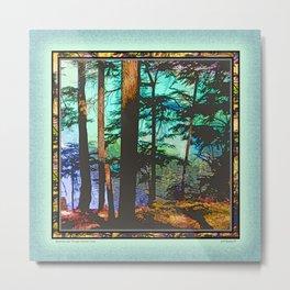 MOUNTAIN LAKE THROUGH HEMLOCK TREES Metal Print