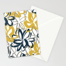 Lotus Garden Painted Floral Pattern in Light Mustard Yellow, Navy Blue, and Gray on White Stationery Cards