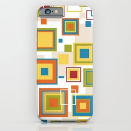 colorful squares geometric pattern iPhone Case