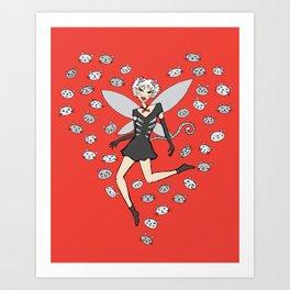 Catgirl Fairy - Black, White and Red Art Print