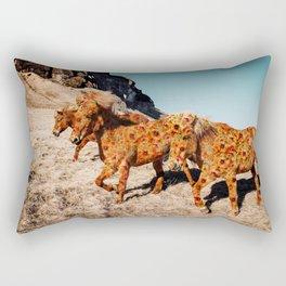 Wild Horses On Flowers Rectangular Pillow