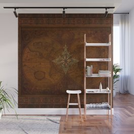 Antique Steampunk Compass Rose & Map Wall Mural