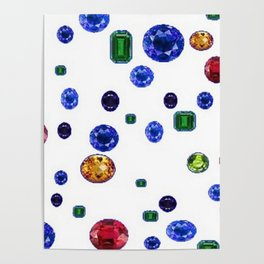 ASSORTED GEMS RAINING Poster