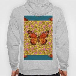Teal Color Orange Monarch Butterflies Celtic Coral Art Hoody
