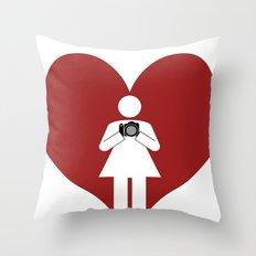 T-Shirt I Love Photography  (Girl) Throw Pillow