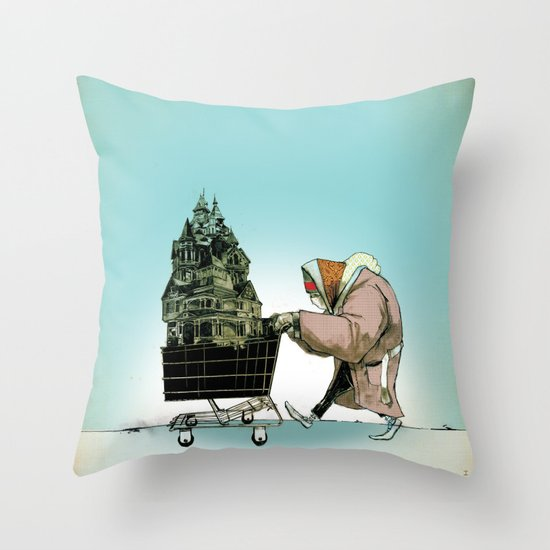 "Glue Network Print Series ""Homelessness"" Throw Pillow"