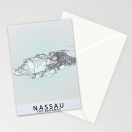 Nassau, The Bahamas, White, City, Map Stationery Cards