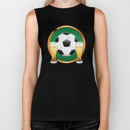 Two beer glasses and soccer ball in green circle Biker Tank