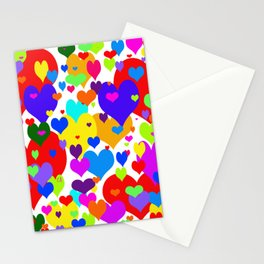 Beaucoup de coeurs de couleur Stationery Cards