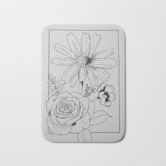 Floral Sketch Bath Mat