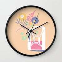 pocket fuel Wall Clocks featuring floral fuel by silviarossana