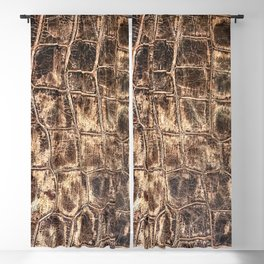 Alligator Skin // Tan and Brown Worn Textured Pattern Animal Print Blackout Curtain