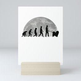 Samoyed Evolution Moon Sled Dog Mini Art Print