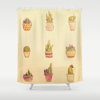 cacti Shower Curtains featuring Cacti by Samantha Crepeau