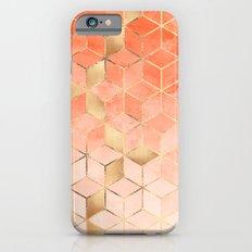 Soft Peach Gradient Cubes iPhone 6 Slim Case