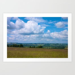 Looking across the Cotswolds, England Art Print