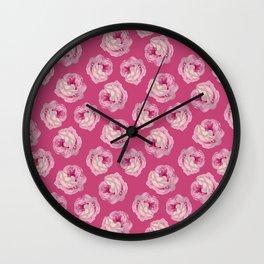 Pink Vintage Rose Pattern Wall Clock