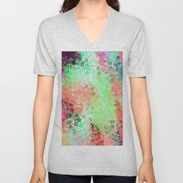 flower pattern abstract background in green pink purple blue Unisex V-Neck